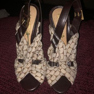 Cloth and leather sandals by LAMB